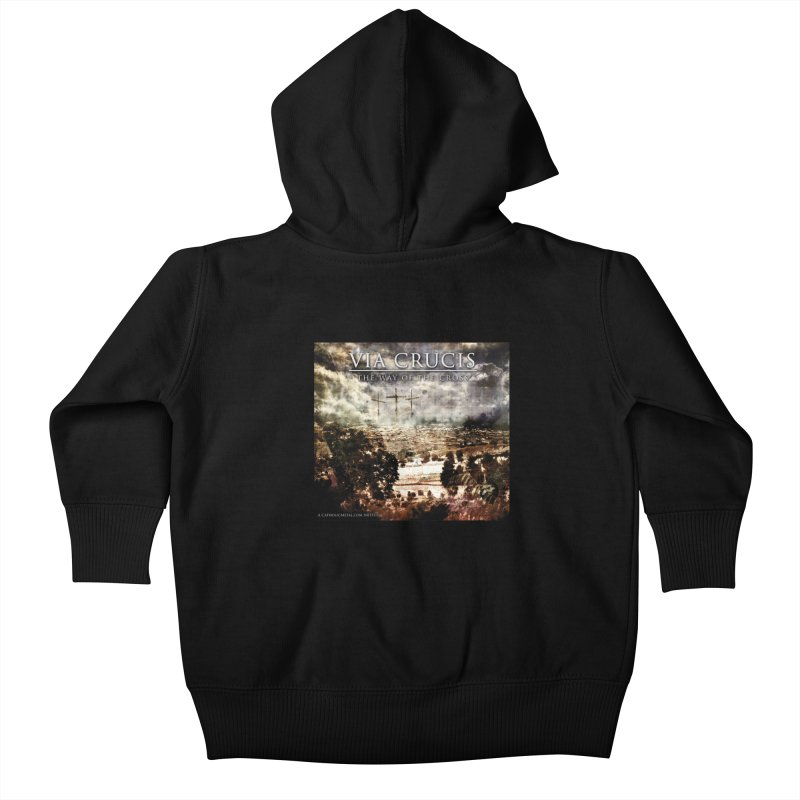 Via Crucis, The Way of the Cross Kids Baby Zip-Up Hoody by Catholic Metal Merch