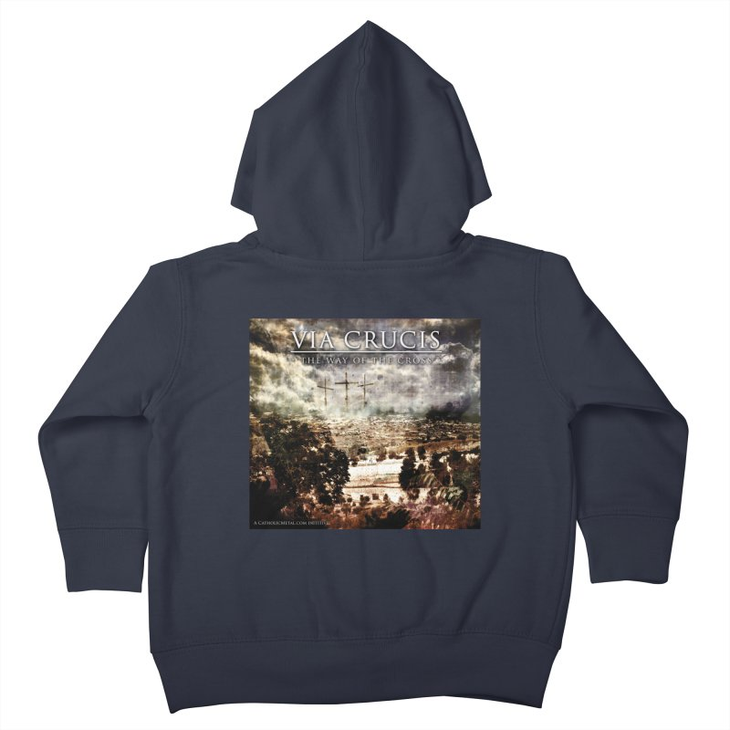 Via Crucis, The Way of the Cross Kids Toddler Zip-Up Hoody by Catholic Metal Merch