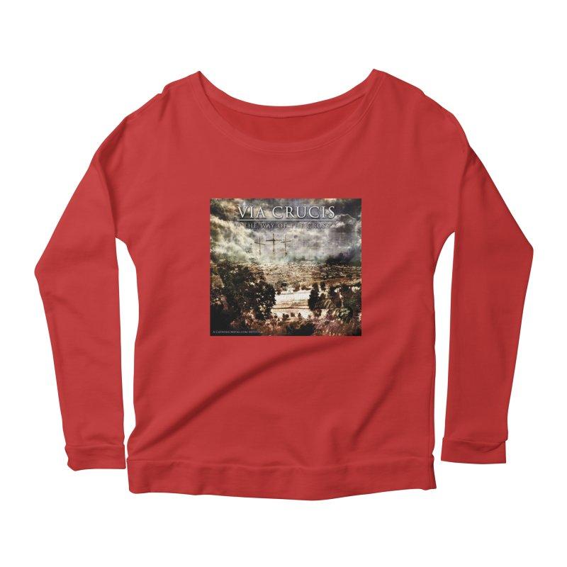 Via Crucis, The Way of the Cross Women's Scoop Neck Longsleeve T-Shirt by Catholic Metal Merch