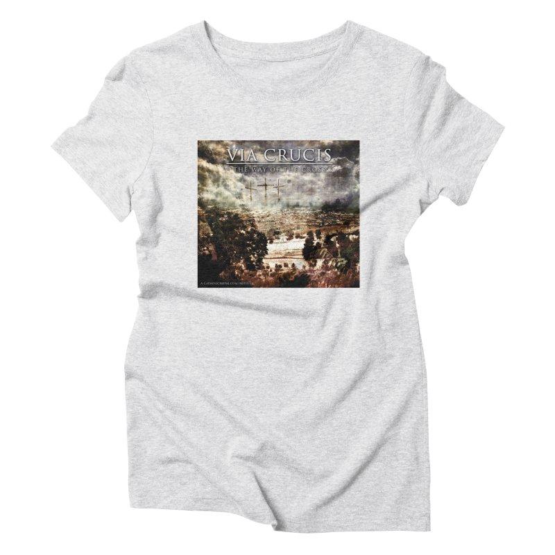 Via Crucis, The Way of the Cross Women's Triblend T-Shirt by Catholic Metal Merch
