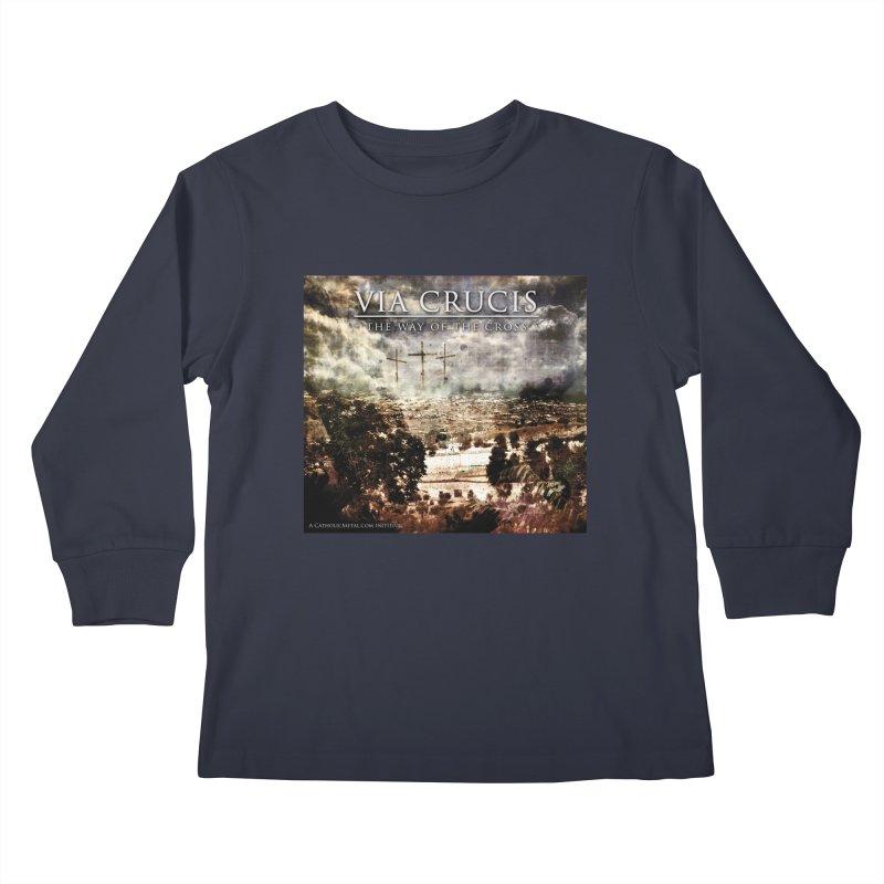 Via Crucis, The Way of the Cross Kids Longsleeve T-Shirt by Catholic Metal Merch