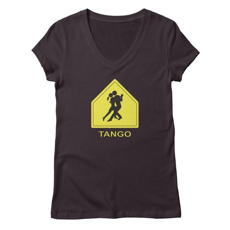 TANGO ZONE Women's V-Neck by CAT IN ORBIT Artist Shop
