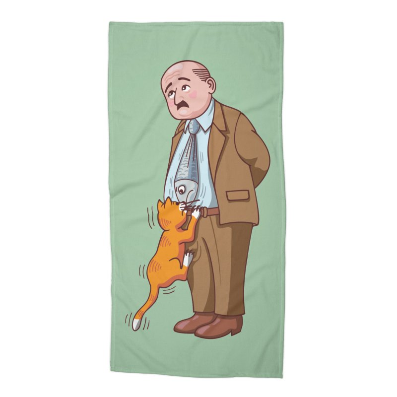 FISH-TIE CAT Accessories Beach Towel by CAT IN ORBIT Artist Shop