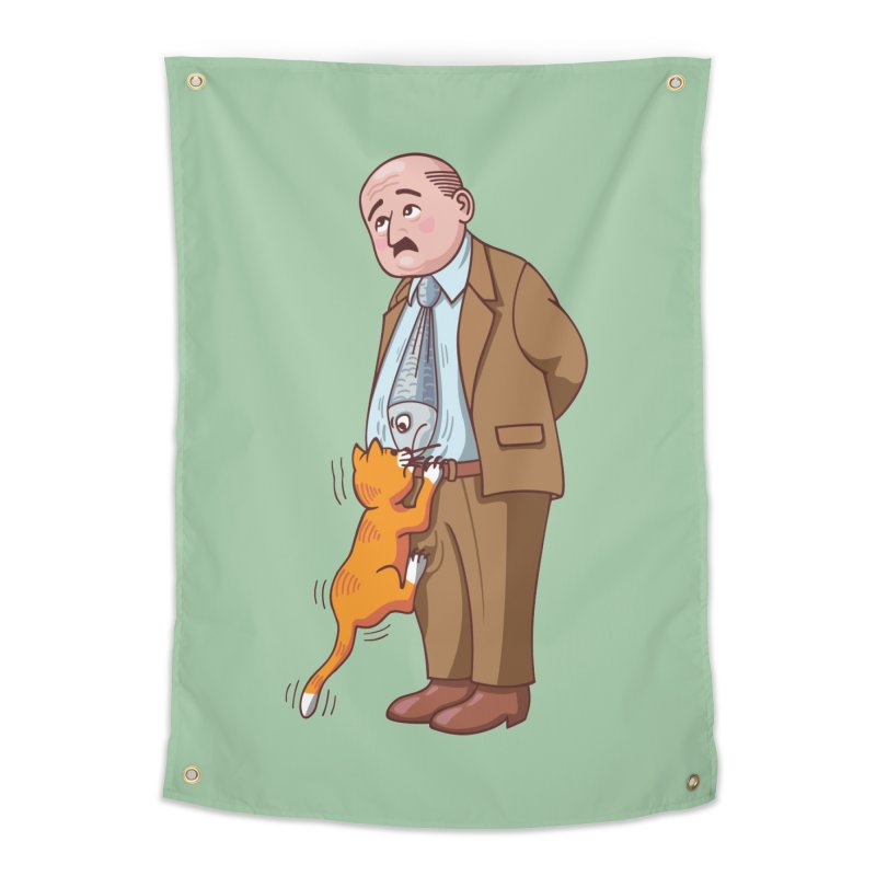 FISH-TIE CAT Home Tapestry by CAT IN ORBIT Artist Shop