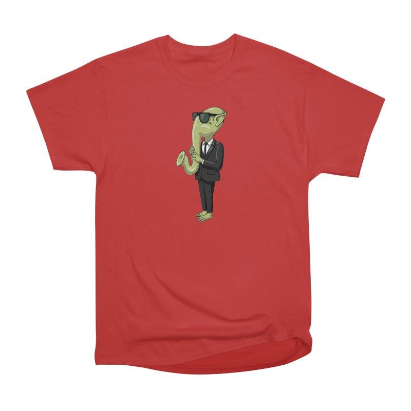 ALIEN SAX PLAYER Women's Heavyweight Unisex T-Shirt by CAT IN ORBIT Artist Shop