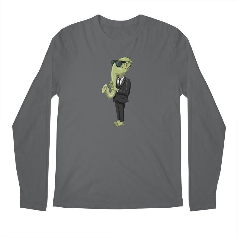 ALIEN SAX PLAYER Men's Regular Longsleeve T-Shirt by CAT IN ORBIT Artist Shop