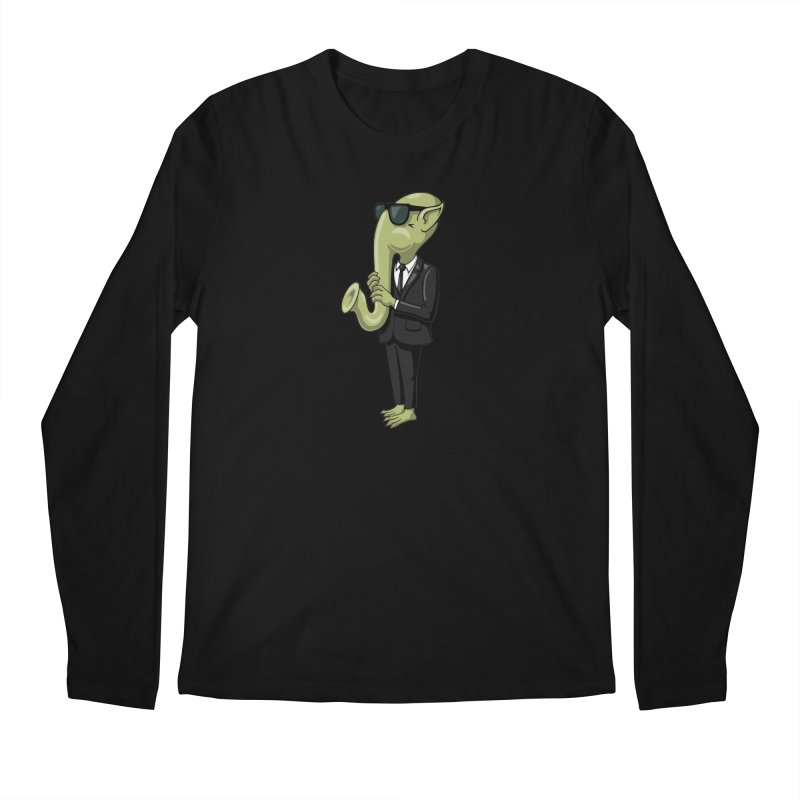 ALIEN SAX PLAYER Men's Longsleeve T-Shirt by CAT IN ORBIT Artist Shop