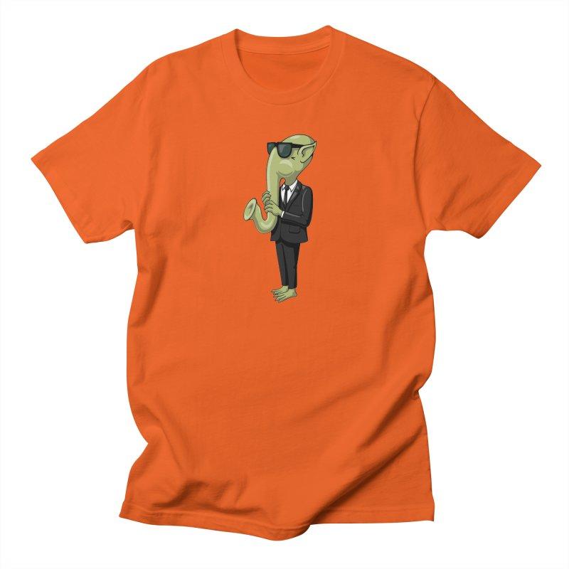 ALIEN SAX PLAYER Men's Regular T-Shirt by CAT IN ORBIT Artist Shop