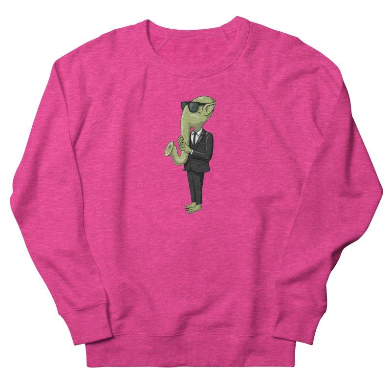 ALIEN SAX PLAYER Men's French Terry Sweatshirt by CAT IN ORBIT Artist Shop