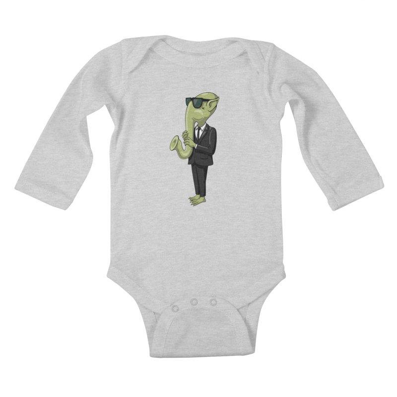 ALIEN SAX PLAYER Kids Baby Longsleeve Bodysuit by CAT IN ORBIT Artist Shop