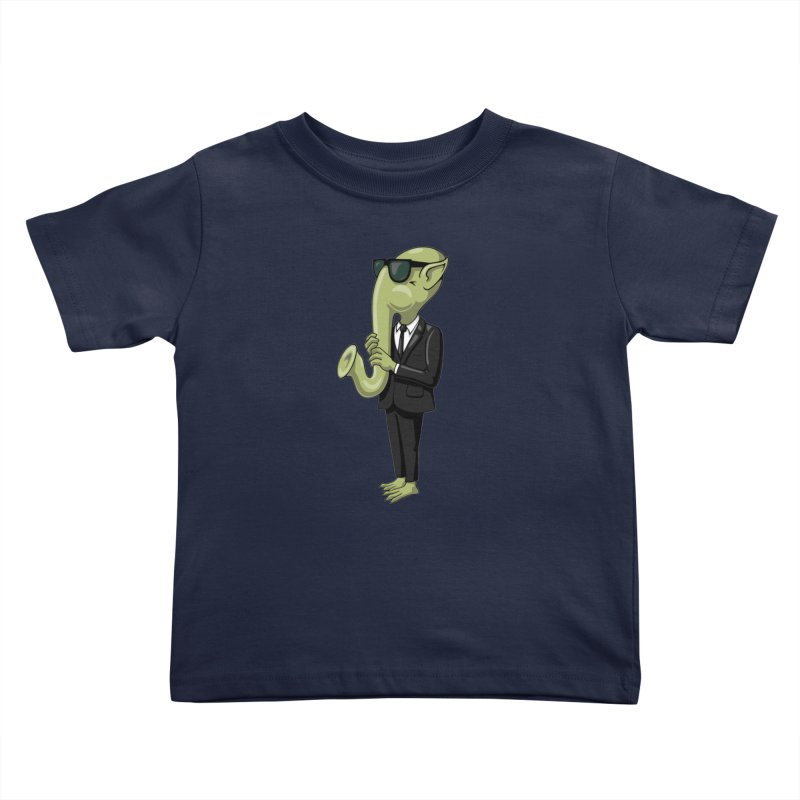 ALIEN SAX PLAYER Kids Toddler T-Shirt by CAT IN ORBIT Artist Shop