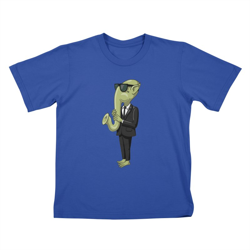 ALIEN SAX PLAYER Kids T-Shirt by CAT IN ORBIT Artist Shop
