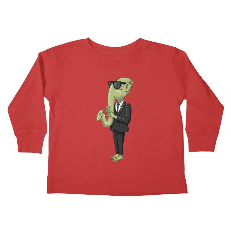 ALIEN SAX PLAYER Kids Toddler Longsleeve T-Shirt by CAT IN ORBIT Artist Shop