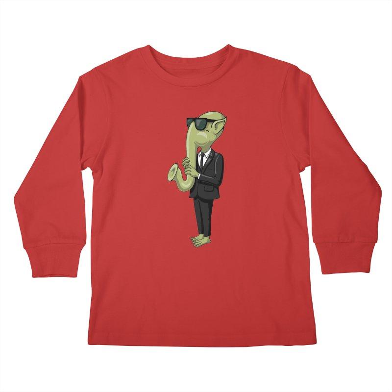 ALIEN SAX PLAYER Kids Longsleeve T-Shirt by CAT IN ORBIT Artist Shop