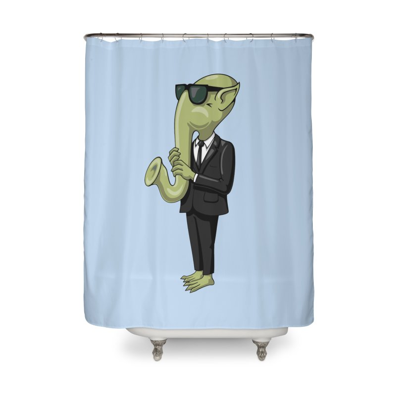 ALIEN SAX PLAYER Home Shower Curtain by CAT IN ORBIT Artist Shop