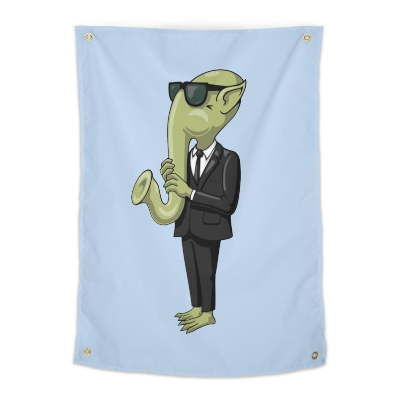 ALIEN SAX PLAYER Home Tapestry by CAT IN ORBIT Artist Shop