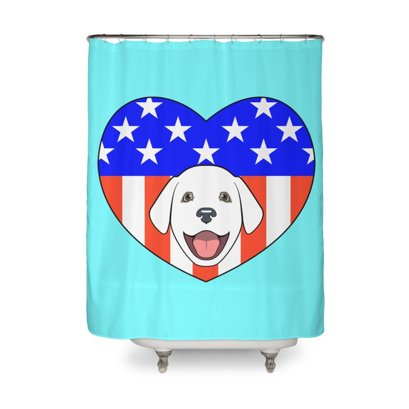 ALL AMERICAN DOG LOVER Home Shower Curtain by CAT IN ORBIT Artist Shop