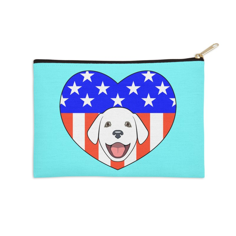 ALL AMERICAN DOG LOVER Accessories Zip Pouch by CAT IN ORBIT Artist Shop