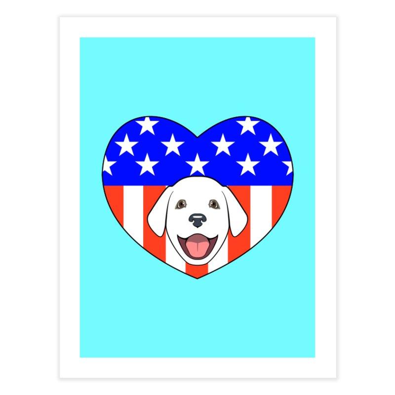 ALL AMERICAN DOG LOVER Home Fine Art Print by CAT IN ORBIT Artist Shop