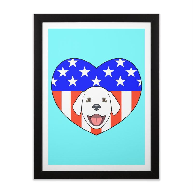 ALL AMERICAN DOG LOVER Home Framed Fine Art Print by CAT IN ORBIT Artist Shop