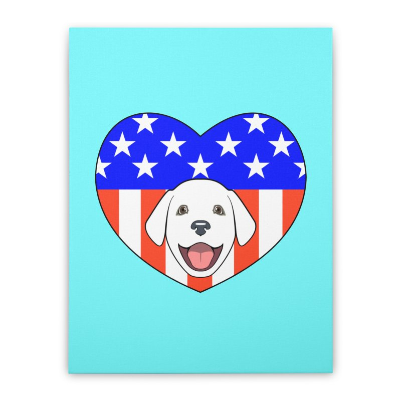 ALL AMERICAN DOG LOVER Home Stretched Canvas by CAT IN ORBIT Artist Shop