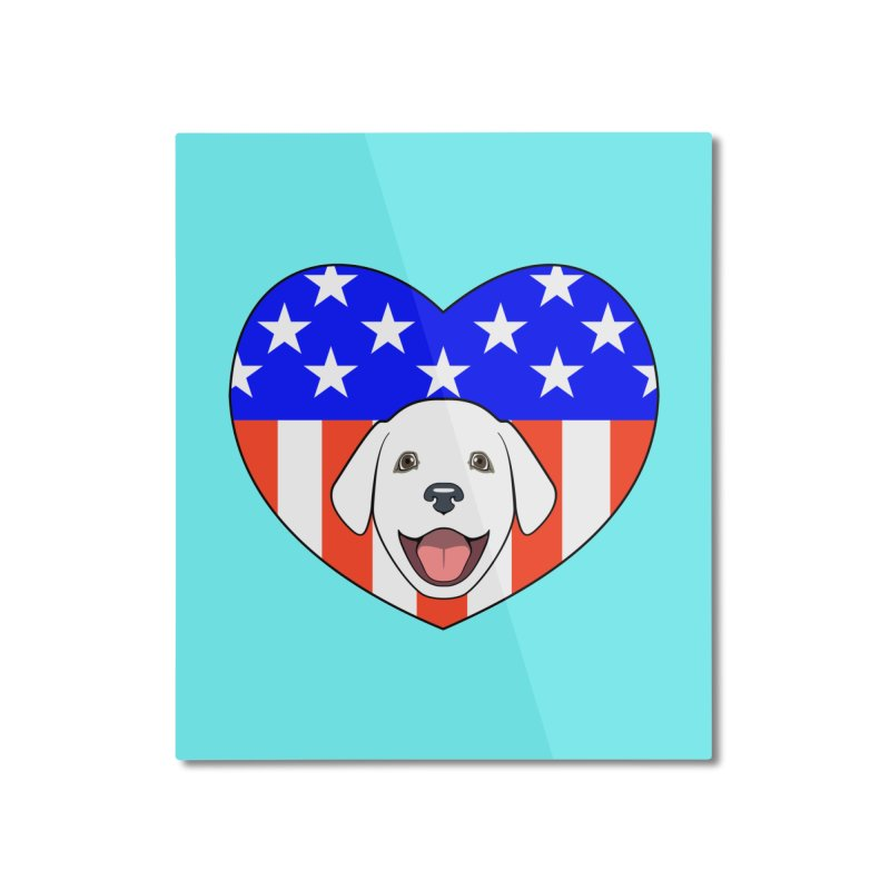 ALL AMERICAN DOG LOVER Home Mounted Aluminum Print by CAT IN ORBIT Artist Shop