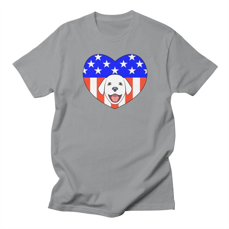 ALL AMERICAN DOG LOVER Women's Regular Unisex T-Shirt by CAT IN ORBIT Artist Shop