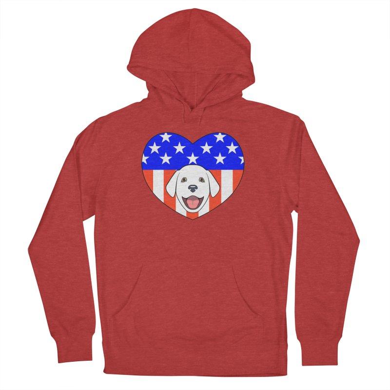 ALL AMERICAN DOG LOVER Women's Pullover Hoody by CAT IN ORBIT Artist Shop