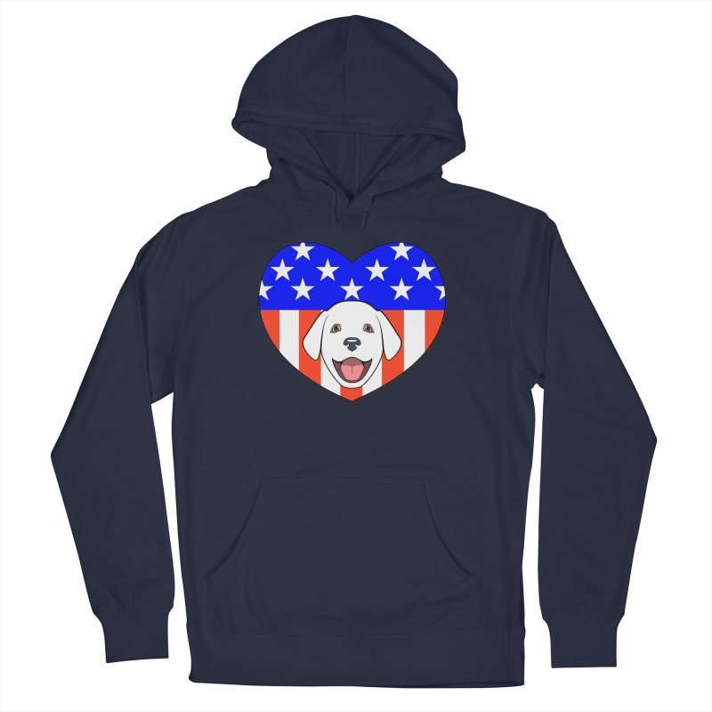 ALL AMERICAN DOG LOVER Women's French Terry Pullover Hoody by CAT IN ORBIT Artist Shop