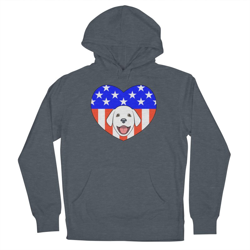 ALL AMERICAN DOG LOVER Men's French Terry Pullover Hoody by CAT IN ORBIT Artist Shop