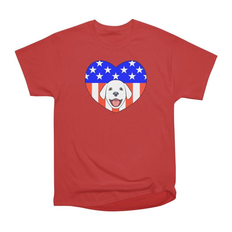 ALL AMERICAN DOG LOVER Women's Heavyweight Unisex T-Shirt by CAT IN ORBIT Artist Shop
