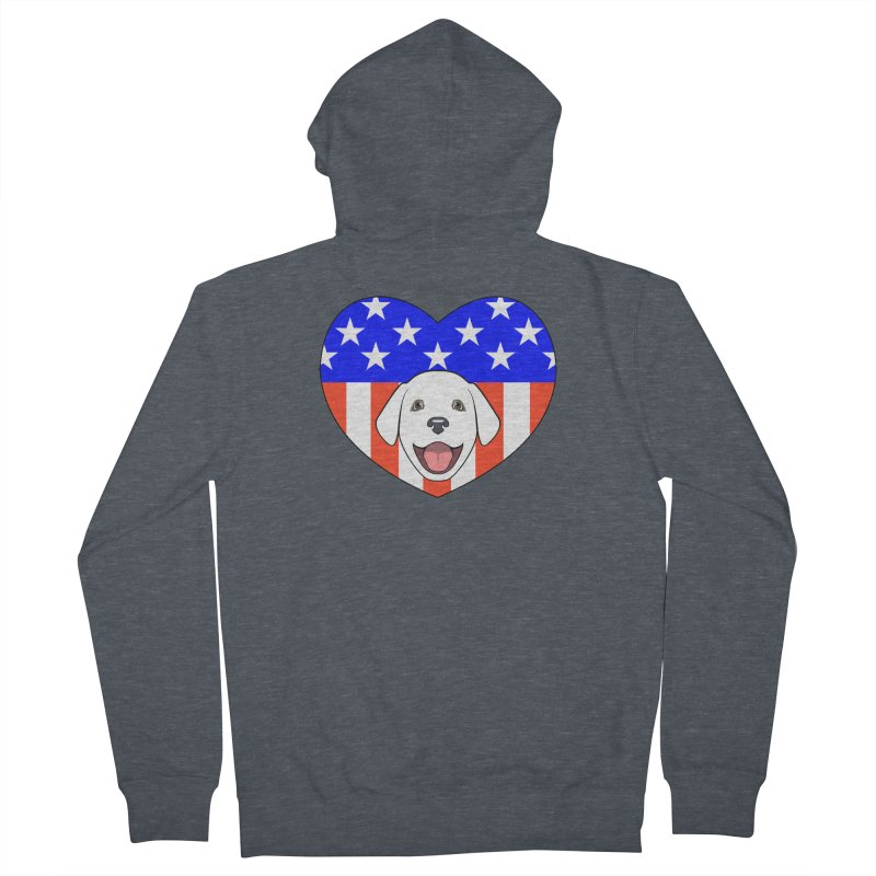 ALL AMERICAN DOG LOVER Women's French Terry Zip-Up Hoody by CAT IN ORBIT Artist Shop
