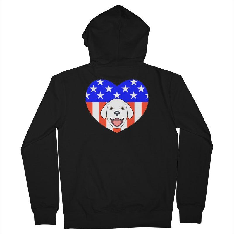 ALL AMERICAN DOG LOVER Women's Zip-Up Hoody by CAT IN ORBIT Artist Shop