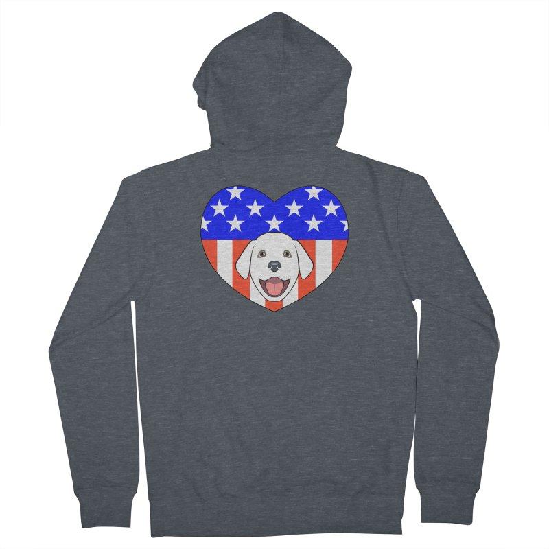 ALL AMERICAN DOG LOVER Men's Zip-Up Hoody by CAT IN ORBIT Artist Shop