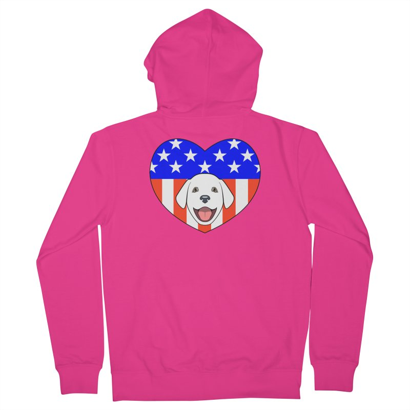 ALL AMERICAN DOG LOVER Men's French Terry Zip-Up Hoody by CAT IN ORBIT Artist Shop