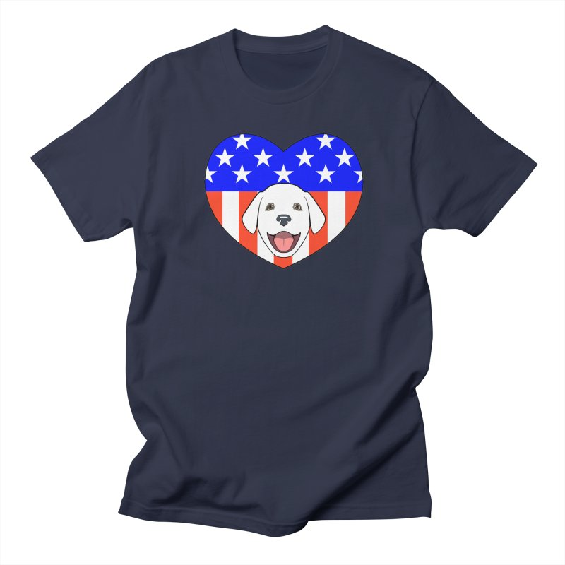 ALL AMERICAN DOG LOVER Men's T-Shirt by CAT IN ORBIT Artist Shop