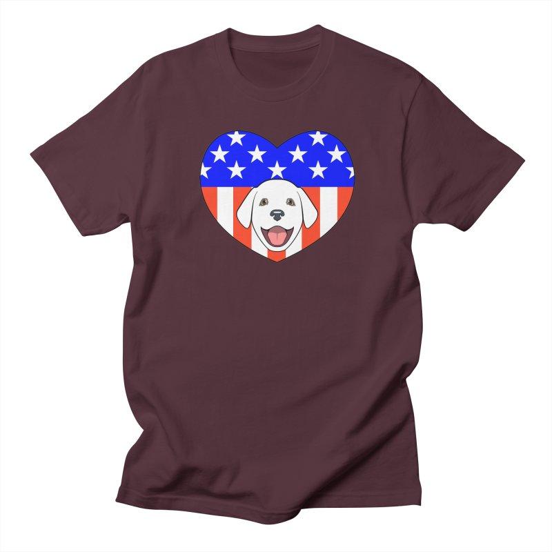 ALL AMERICAN DOG LOVER Men's Regular T-Shirt by CAT IN ORBIT Artist Shop