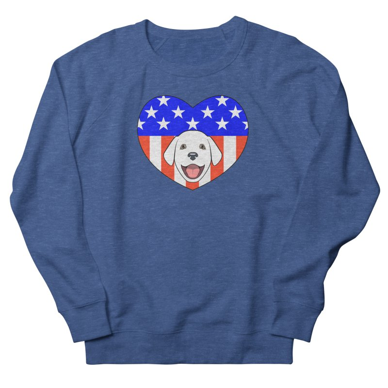 ALL AMERICAN DOG LOVER Women's French Terry Sweatshirt by CAT IN ORBIT Artist Shop