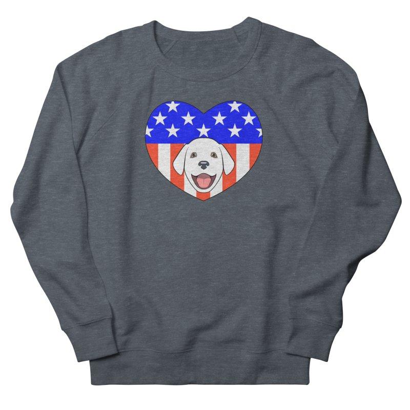 ALL AMERICAN DOG LOVER Men's French Terry Sweatshirt by CAT IN ORBIT Artist Shop