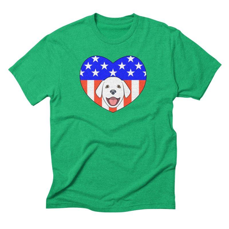 ALL AMERICAN DOG LOVER Men's Triblend T-Shirt by CAT IN ORBIT Artist Shop