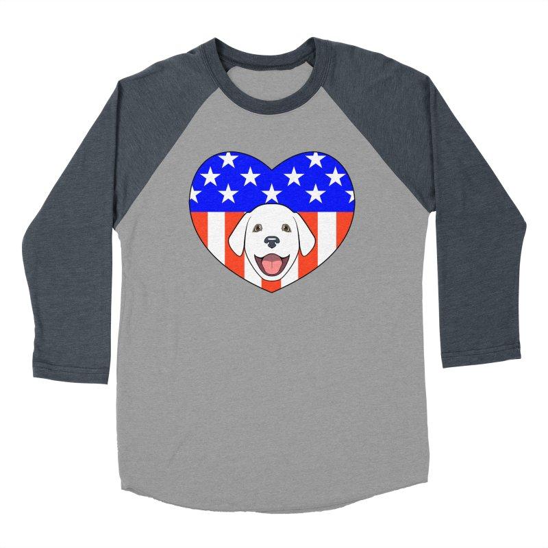 ALL AMERICAN DOG LOVER Men's Baseball Triblend T-Shirt by CAT IN ORBIT Artist Shop