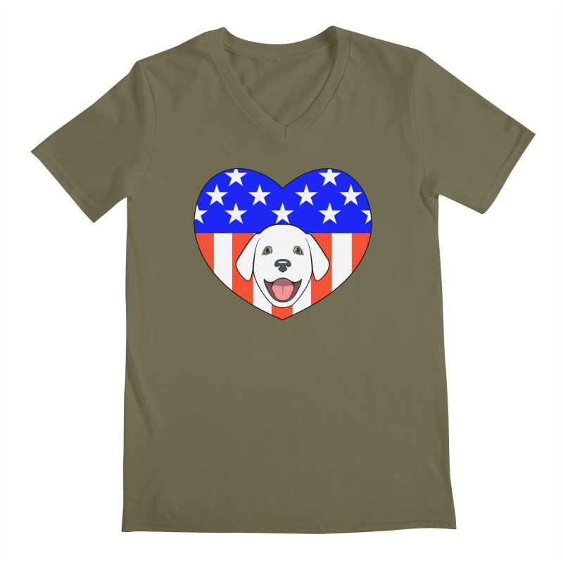 ALL AMERICAN DOG LOVER Men's Regular V-Neck by CAT IN ORBIT Artist Shop