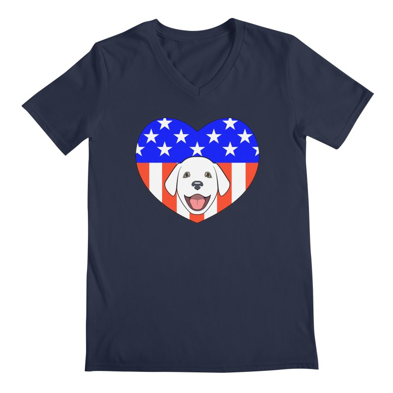 ALL AMERICAN DOG LOVER Men's V-Neck by CAT IN ORBIT Artist Shop