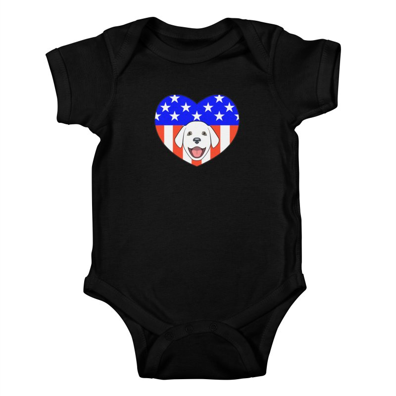 ALL AMERICAN DOG LOVER Kids Baby Bodysuit by CAT IN ORBIT Artist Shop