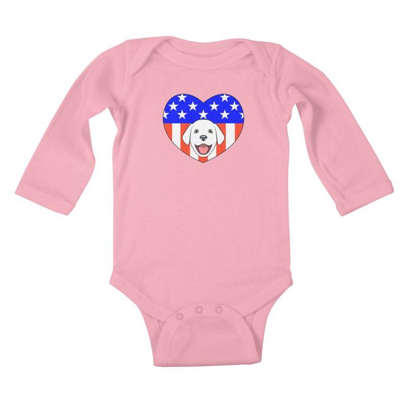 ALL AMERICAN DOG LOVER Kids Baby Longsleeve Bodysuit by CAT IN ORBIT Artist Shop