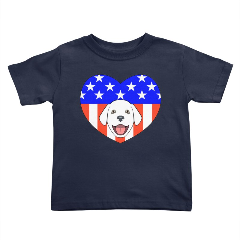 ALL AMERICAN DOG LOVER Kids Toddler T-Shirt by CAT IN ORBIT Artist Shop