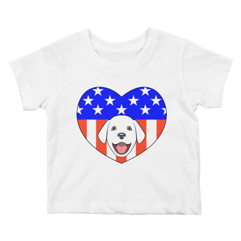 ALL AMERICAN DOG LOVER Kids Baby T-Shirt by CAT IN ORBIT Artist Shop