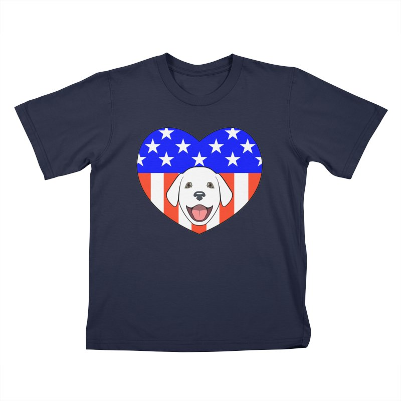 ALL AMERICAN DOG LOVER Kids T-Shirt by CAT IN ORBIT Artist Shop