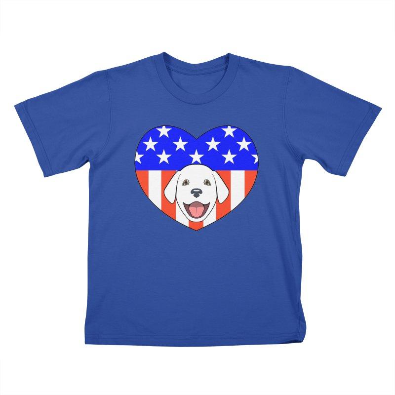 ALL AMERICAN DOG LOVER Kids T-Shirt by CAT IN ORBIT Artist Shop