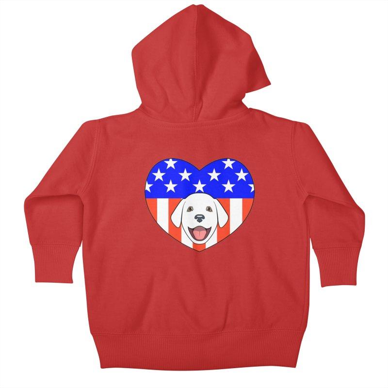ALL AMERICAN DOG LOVER Kids Baby Zip-Up Hoody by CAT IN ORBIT Artist Shop